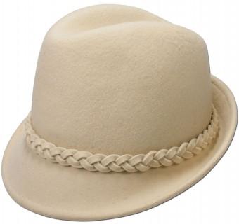 Felt Trachten Hat v Tyrolean Braid, Cream