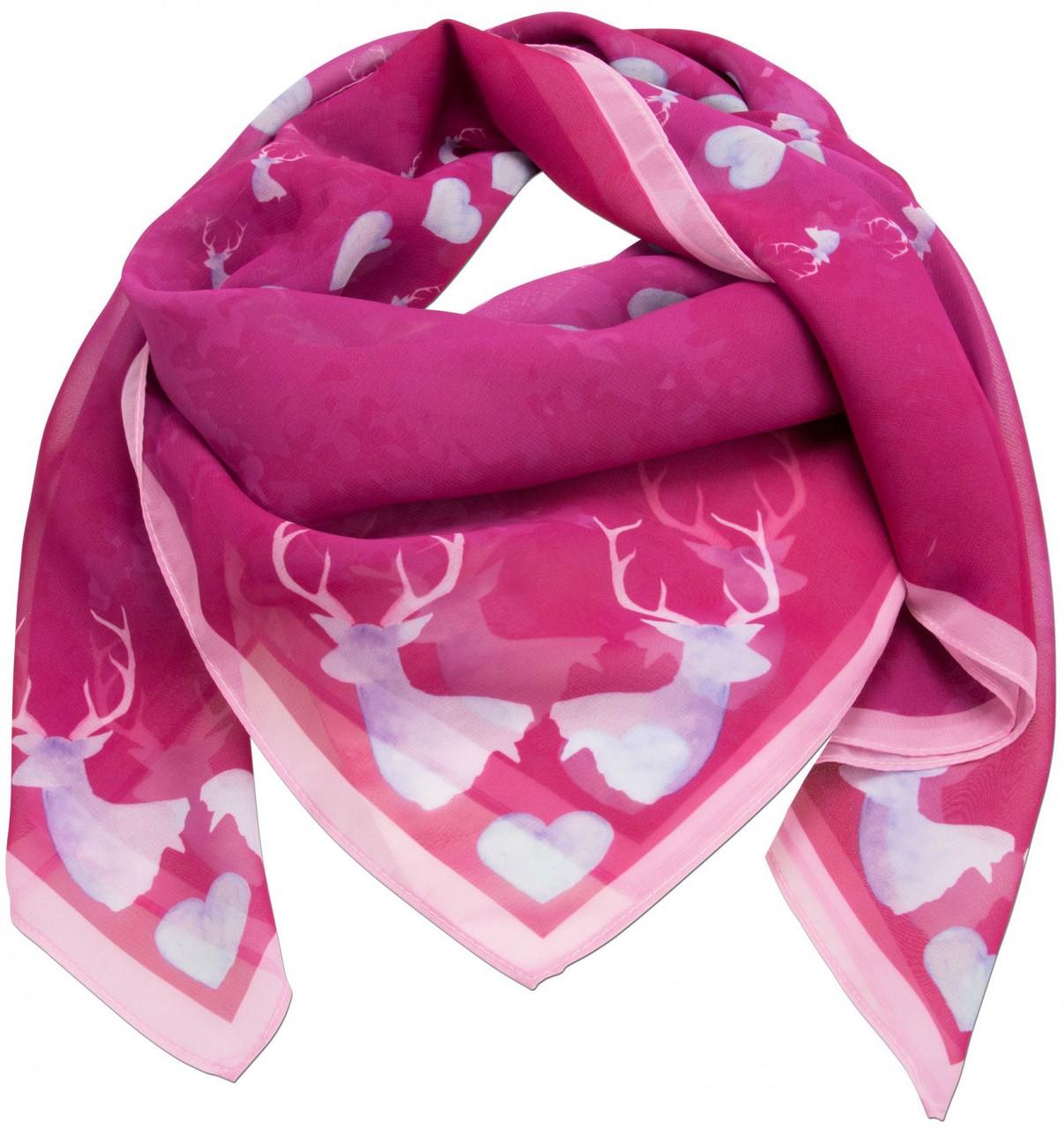 Trachtentuch verliebter Hirsch pink