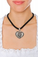 Preview: Braid Necklace with Edelweiss Heart, Black