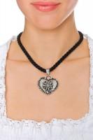 Vorschau: Kordelkette mit Edelweiß Herz, schwarz