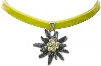 Velvet Choker with Edelweiß Pendant, Light Green