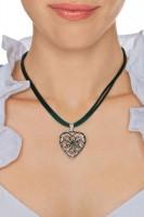 Vorschau: Herzkette mit Stein und 2 Satinbändern, tannengrün