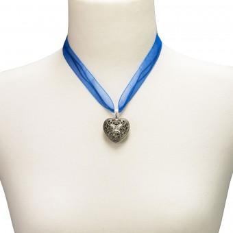 Organza Trachtenkette Viktoria blau