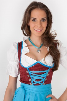 3-piece red midi dirndl with turquoise lacing