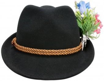 Filzhut Alpenblümchen schwarz