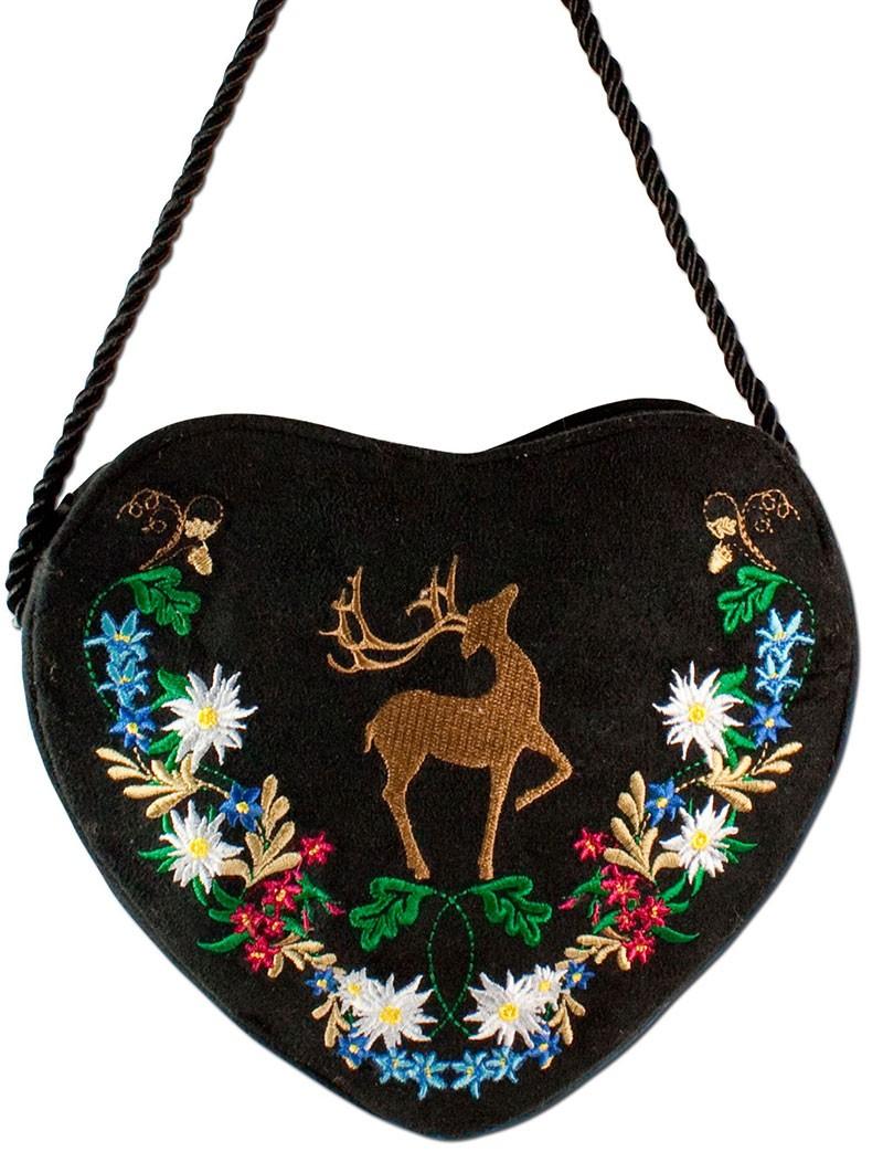 Herz Trachtentasche schwarz mit Hirsch und Blumenranke