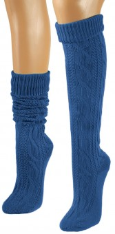 Knee-Length Winter Socks, Royal Blue