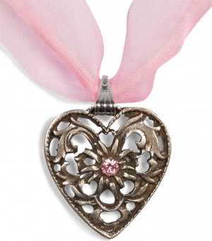 Dirndl Necklace - Bavarian Oktoberfest - Heart with Stone, pink