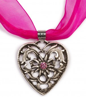 Chiffon Necklace with Heart Pendant, Hot Pink