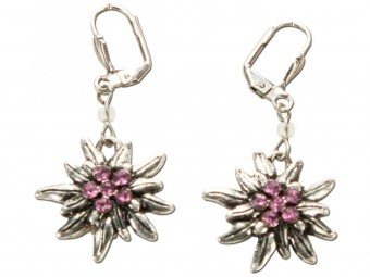 Trachten Earrings, Edelweiß, Silver-Pink