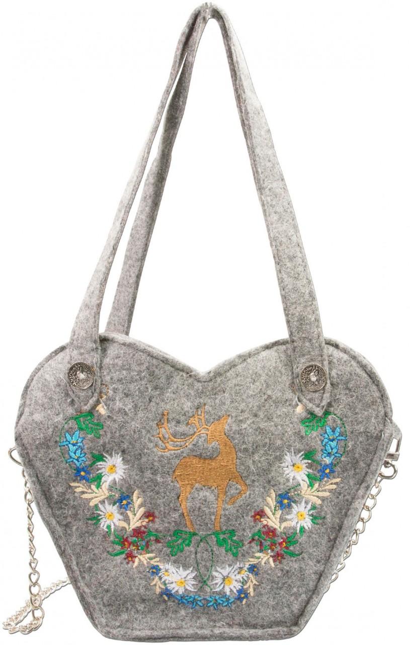 Filz-Trachtentasche Hirsch grau
