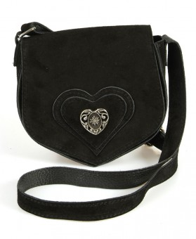 Wildledertasche in Herzform schwarz