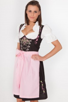 Trendy 3-piece black midi dirndl with pink apron