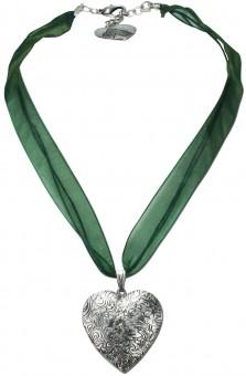 Organzakette Herzamulett grün