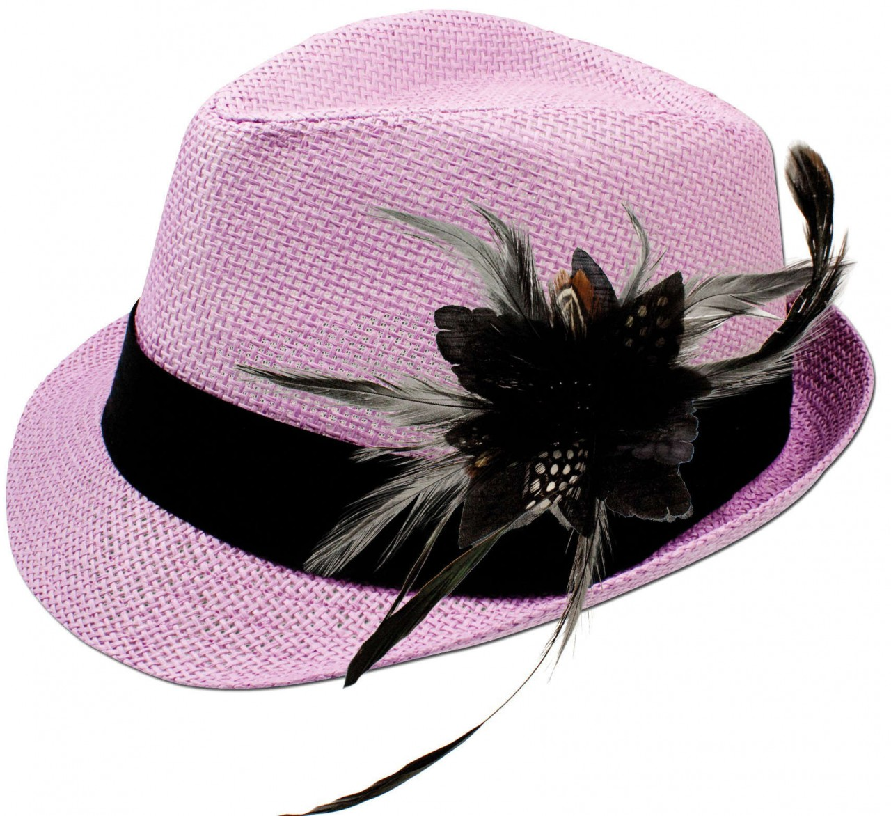 Straw hat Hannah with feather brooch black