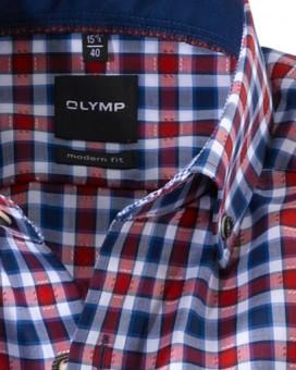Olymp Hemd Trachtenhemd rot/blau/weiss Kariert