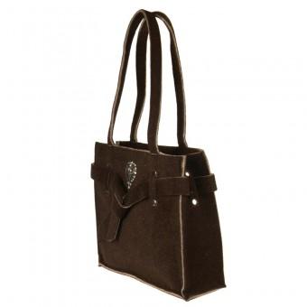 Kwadratowa torba na zakupy wykonana z brązowego filcu