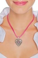 Vorschau: Herzkette mit Stein und 2 Satinbändern, pink