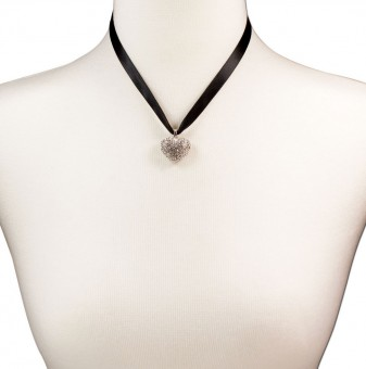 Satin Necklace with Rhinestone Heart, Black