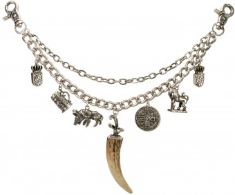 Charivari Chain with Pendants Gustaf, Antique Silver